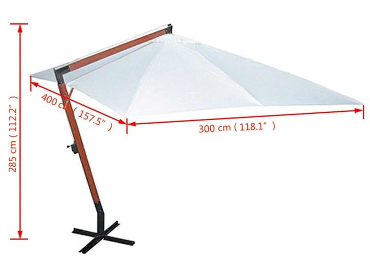 vidaXL Parasol 300 x 400 cm, biały Parasole Kategoria Parasole ogrodowe
