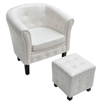 vidaXL Fotel z podnóżkiem, biały, sztuczna skóra