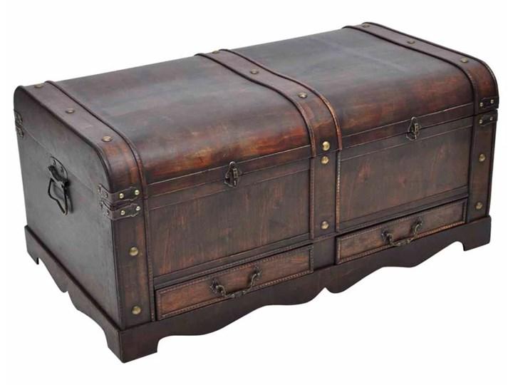 vidaXL Drewniany kufer, duży, brązowy Wysokość 42 cm Skrzynia Drewno Płyta meblowa Styl Vintage