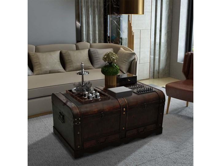 vidaXL Drewniany kufer, duży, brązowy Wysokość 42 cm Płyta meblowa Kształt blatu Prostokątne Skrzynia Drewno Styl Vintage