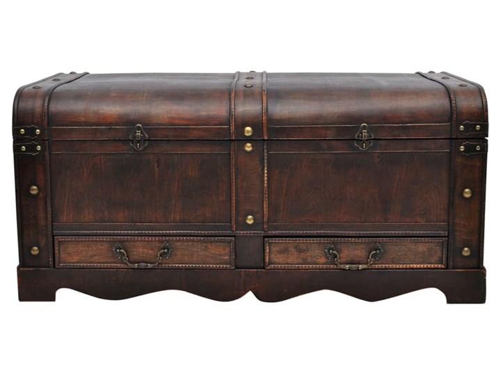 vidaXL Drewniany kufer, duży, brązowy Wysokość 42 cm Płyta meblowa Skrzynia Drewno Styl Vintage