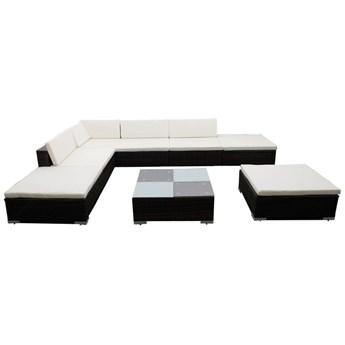 vidaXL 8-cz. zestaw wypoczynkowy do ogrodu, poduszki, rattan PE, brąz