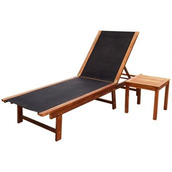 vidaXL Leżak ze stolikiem, lite drewno akacjowe i tkanina textilene