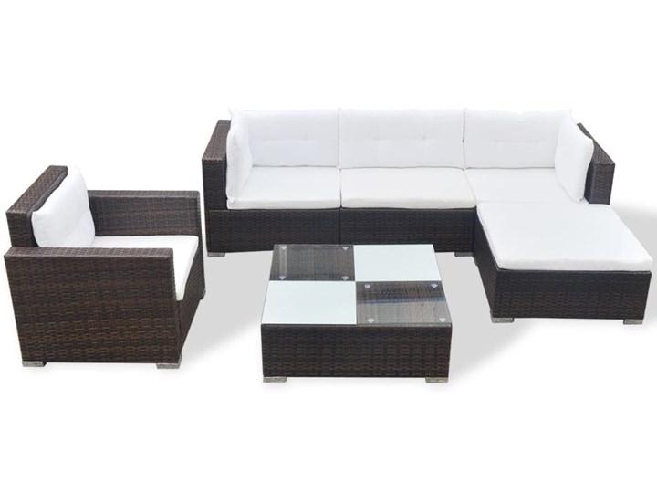 vidaXL 6-cz. zestaw wypoczynkowy do ogrodu, poduszki, rattan PE, brąz Stal Zestawy modułowe Zestawy wypoczynkowe Kolor Biały
