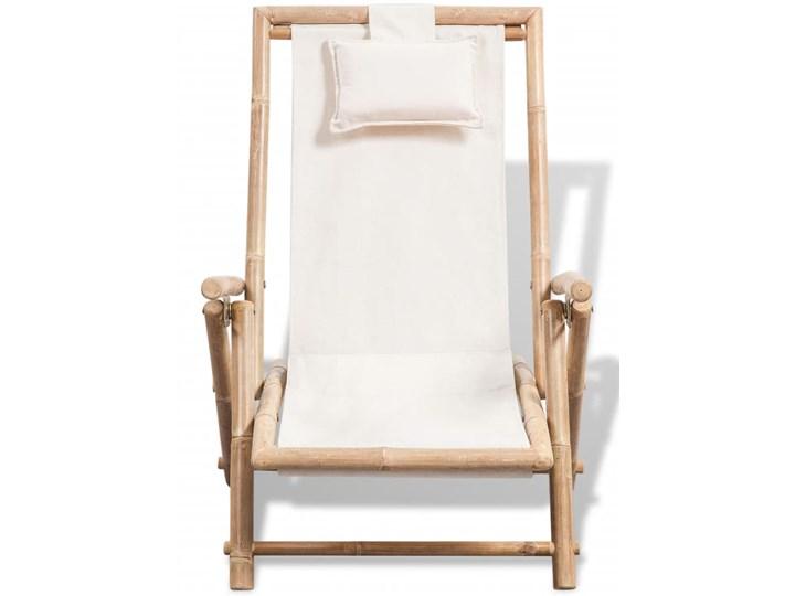 vidaXL Leżak tarasowy, bambus Z regulowanym oparciem Drewno Składane Kolor Beżowy