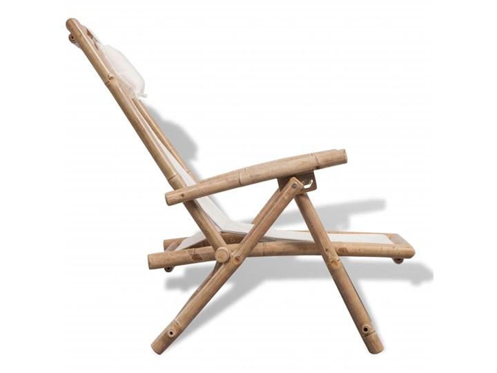 vidaXL Leżak tarasowy, bambus Drewno Składane Z regulowanym oparciem Kolor Biały