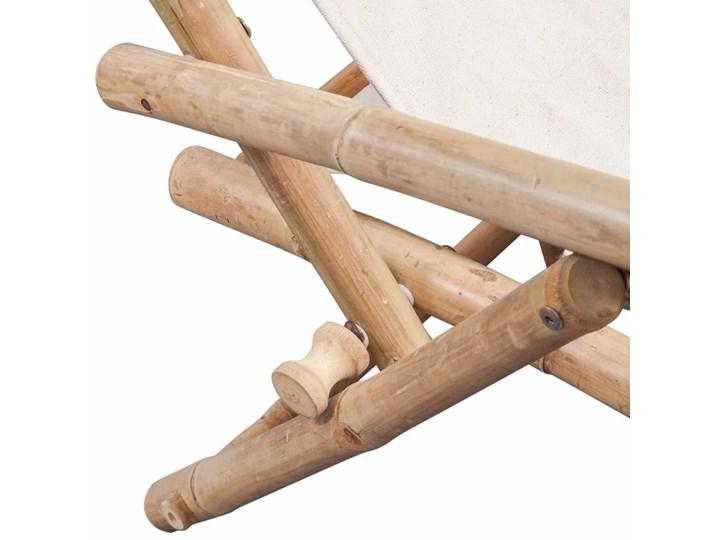 vidaXL Leżak tarasowy, bambus Kolor Beżowy Z regulowanym oparciem Składane Drewno Kolor Biały