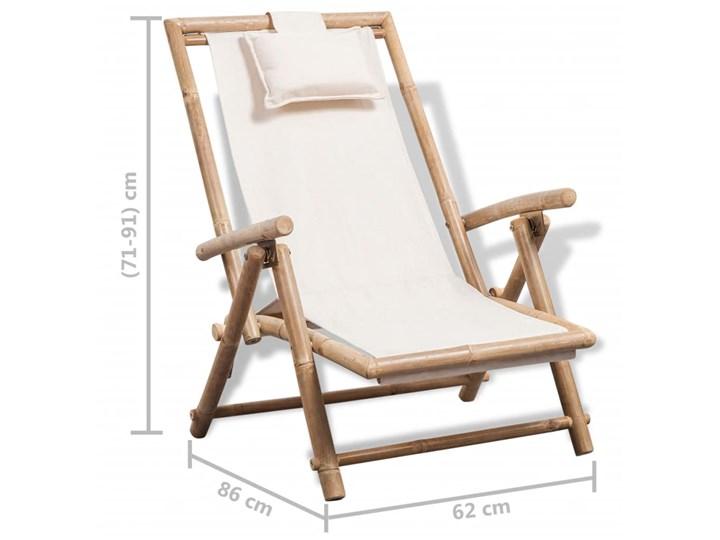 vidaXL Leżak tarasowy, bambus Drewno Z regulowanym oparciem Kolor Beżowy Składane Kolor Biały