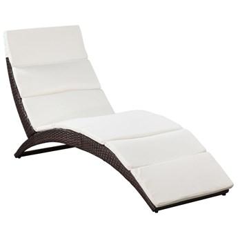 vidaXL Leżak ogrodowy składany, z poduszką, polirattan, brązowy
