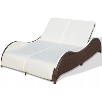 vidaXL Podwójny leżak z poduszką, polirattan, brązowy