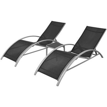 vidaXL Leżaki ze stolikiem, aluminium, czarny