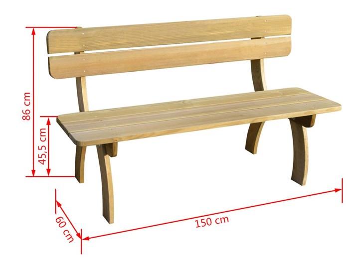 vidaXL Ławka ogrodowa, 150 cm, impregnowane drewno sosnowe Z oparciem Styl Rustykalny