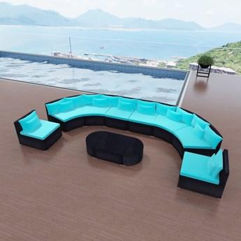 vidaXL 11-cz. zestaw mebli do ogrodu, poduszki, rattan PE, niebieski