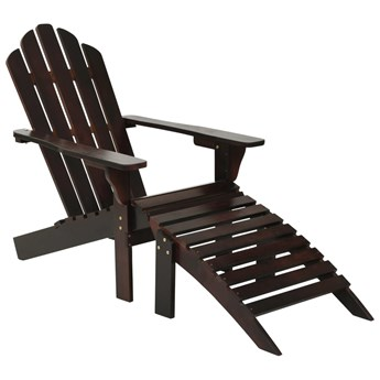 vidaXL Fotel ogrodowy z podnóżkiem, drewniany, brązowy