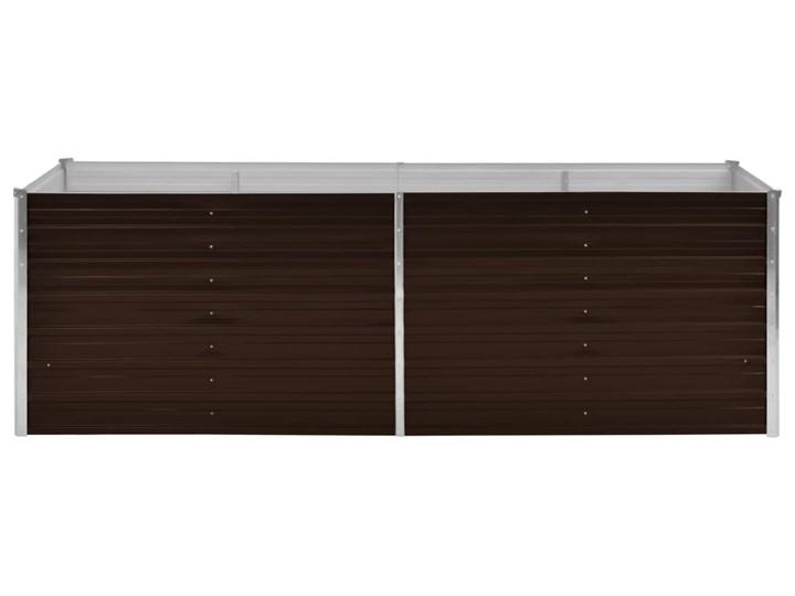 vidaXL Podwyższona donica, brązowa, 240x80x77 cm, galwanizowana stal Metal Prostokątny Donica balkonowa Donica ogrodowa Kolor Brązowy