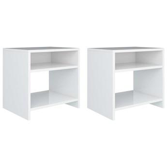 vidaXL 2 białe szafki nocne, wysoki połysk, 40x30x40 cm, płyta wiórowa