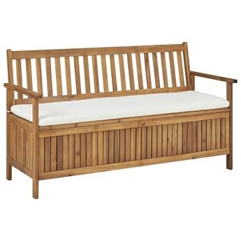 vidaXL Ławka ze schowkiem i poduszką, 148 cm, lite drewno akacjowe