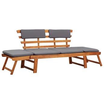 vidaXL Leżanka ogrodowa 2-w-1 z poduszką, 190 cm, lite drewno akacjowe