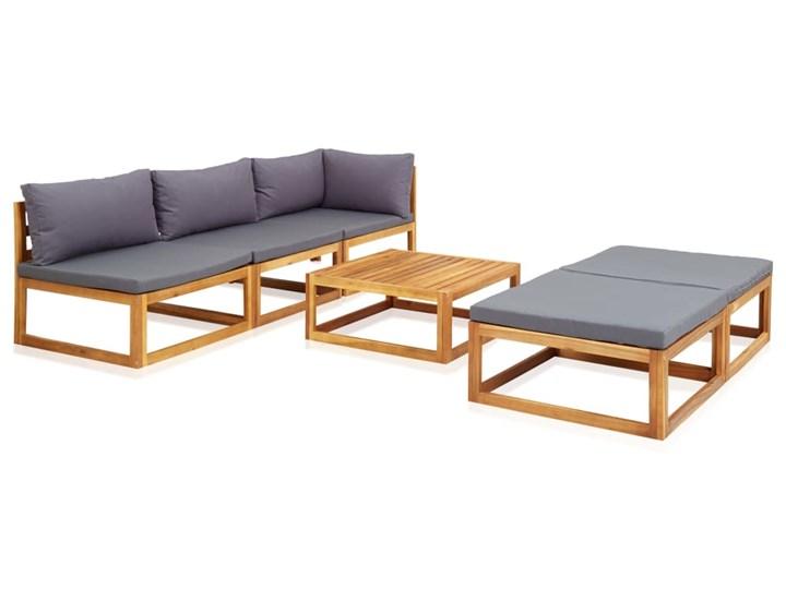 vidaXL 6-cz. zestaw mebli ogrodowych z poduszkami, drewno akacjowe Zawartość zestawu Puf Zestawy wypoczynkowe Zestawy modułowe Zestawy kawowe Kategoria Zestawy mebli ogrodowych