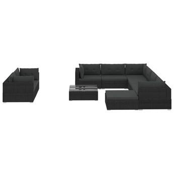 vidaXL 10-cz. zestaw mebli do ogrodu, poduszki, rattan PE, czarny