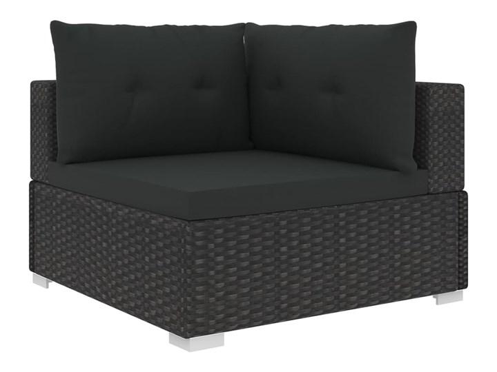 vidaXL 10-cz. zestaw mebli do ogrodu, poduszki, rattan PE, czarny Stal Zestawy modułowe Zawartość zestawu Sofa