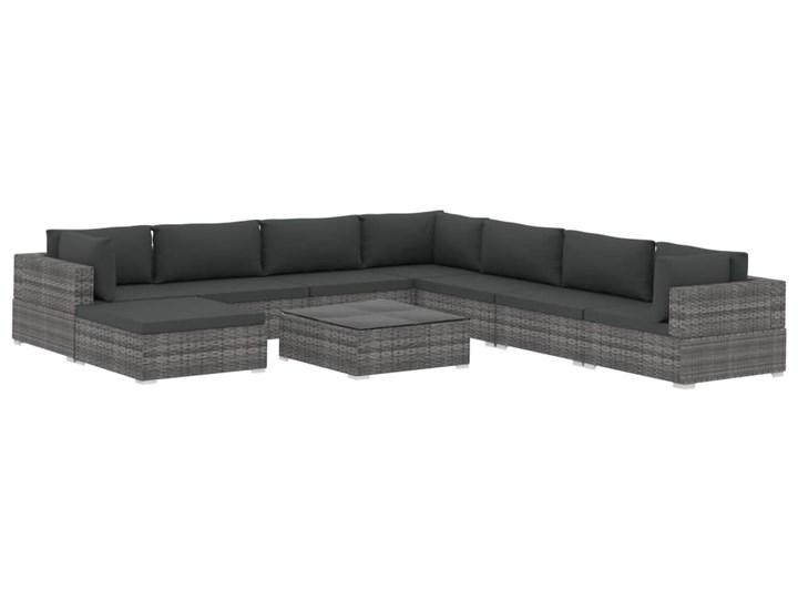 vidaXL 9-cz. zestaw wypoczynkowy do ogrodu, poduszki, rattan PE, szary Zestawy kawowe Zestawy wypoczynkowe Zestawy modułowe Stal Zawartość zestawu Sofa