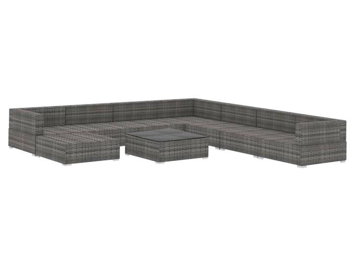 vidaXL 9-cz. zestaw wypoczynkowy do ogrodu, poduszki, rattan PE, szary Kategoria Zestawy mebli ogrodowych Zestawy kawowe Zestawy modułowe Stal Zestawy wypoczynkowe Zawartość zestawu Puf