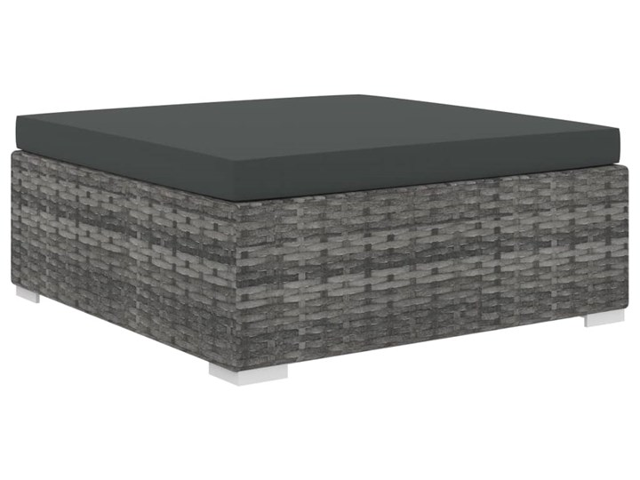 vidaXL 9-cz. zestaw wypoczynkowy do ogrodu, poduszki, rattan PE, szary Zestawy wypoczynkowe Zestawy modułowe Stal Zestawy kawowe Zawartość zestawu Stolik