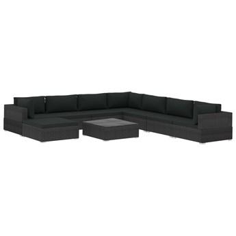vidaXL 9-cz. zestaw wypoczynkowy do ogrodu, poduszki, rattan PE czarny