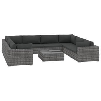 vidaXL 9-cz. zestaw wypoczynkowy do ogrodu, poduszki, rattan PE, szary