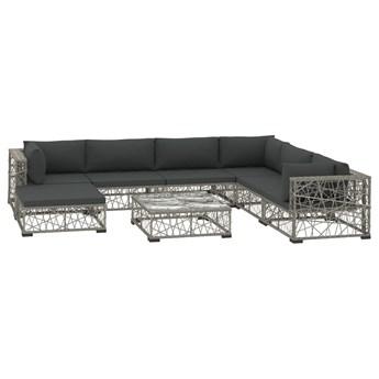 vidaXL 8-cz. zestaw wypoczynkowy do ogrodu, poduszki, rattan PE, szary