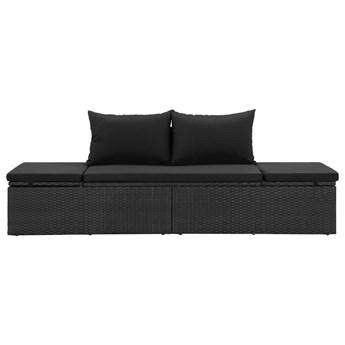vidaXL Łóżko ogrodowe z poduszkami, polirattanowe, czarne