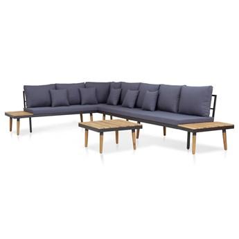 vidaXL 5-cz. zestaw mebli ogrodowych, poduszki, drewno akacjowe, brąz