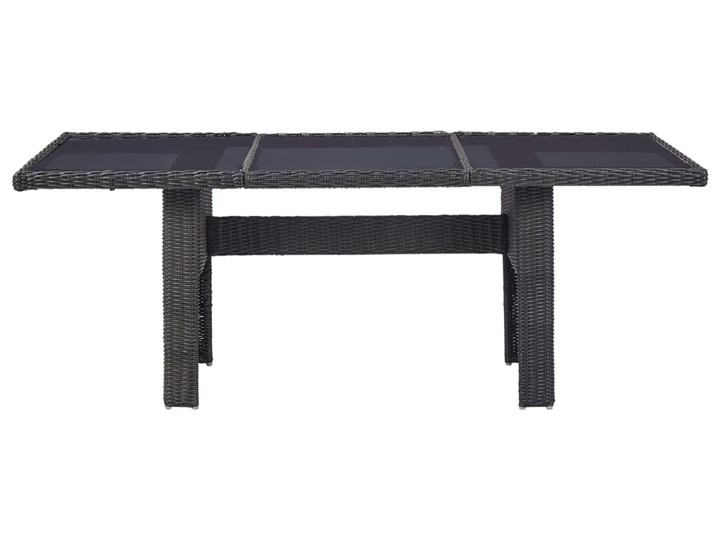 vidaXL 9-częściowy zestaw mebli ogrodowych, polirattan, czarny Technorattan Tworzywo sztuczne Stoły z krzesłami Zawartość zestawu Krzesła