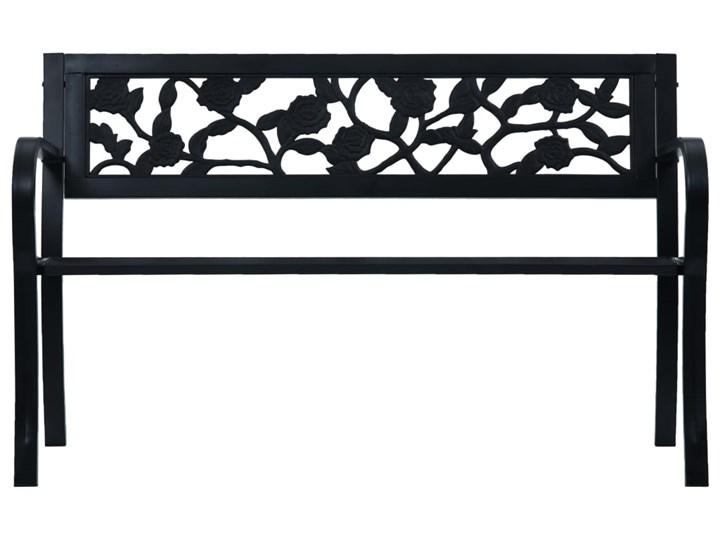 vidaXL Ławka ogrodowa, 125 cm, czarna, stalowa Tworzywo sztuczne Z oparciem Styl Vintage