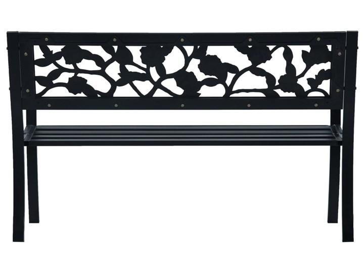 vidaXL Ławka ogrodowa, 125 cm, czarna, stalowa Z oparciem Tworzywo sztuczne Styl Vintage