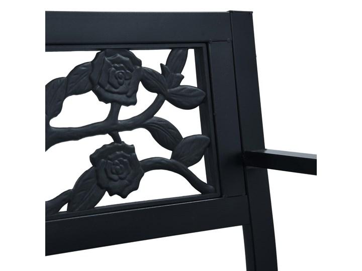 vidaXL Ławka ogrodowa, 125 cm, czarna, stalowa Tworzywo sztuczne Kolor Czarny Z oparciem Styl Vintage