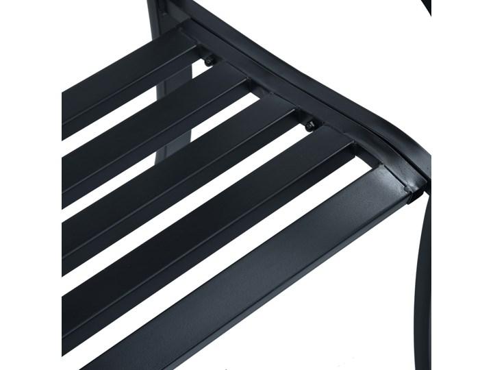 vidaXL Ławka ogrodowa, 125 cm, czarna, stalowa Tworzywo sztuczne Z oparciem Kolor Czarny Styl Vintage