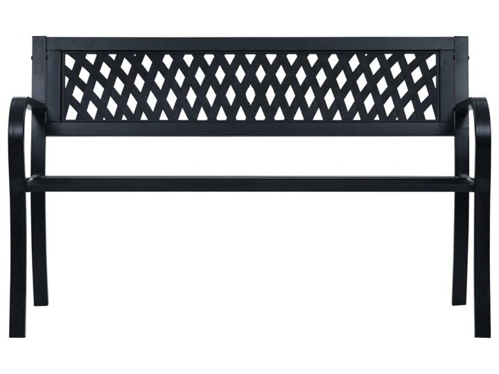 vidaXL Ławka ogrodowa, 125 cm, czarna, stalowa Z oparciem Tworzywo sztuczne Kategoria Ławki ogrodowe