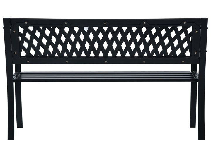 vidaXL Ławka ogrodowa, 125 cm, czarna, stalowa Z oparciem Tworzywo sztuczne Kolor Czarny