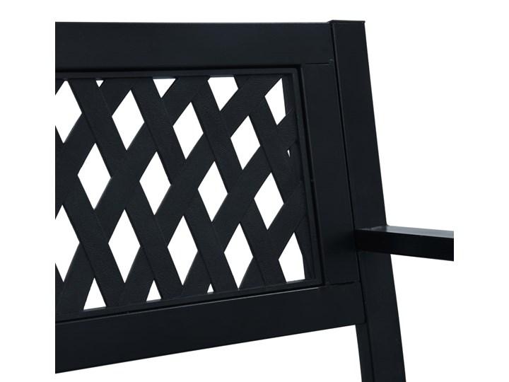 vidaXL Ławka ogrodowa, 125 cm, czarna, stalowa Kolor Czarny Z oparciem Tworzywo sztuczne Kategoria Ławki ogrodowe