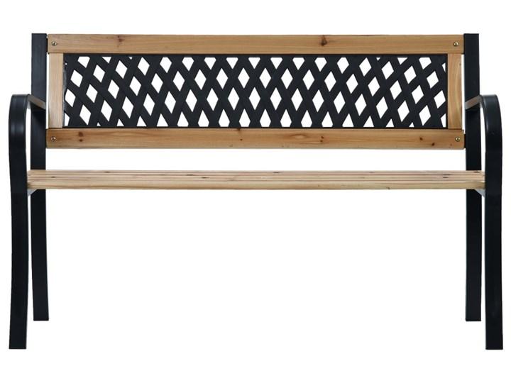 vidaXL Ławka ogrodowa, 120 cm, drewno Z oparciem Tworzywo sztuczne Kolor Beżowy Stal Kolor Czarny