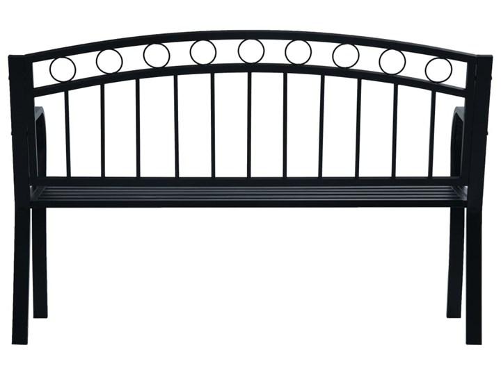 vidaXL Ławka ogrodowa, 125 cm, czarna, stalowa Kolor Czarny Z oparciem Kategoria Ławki ogrodowe