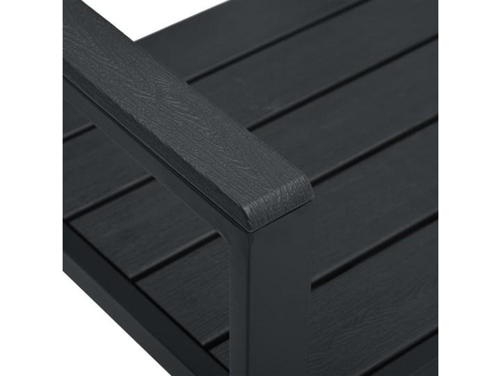 vidaXL Ławka ogrodowa, 120 cm, czarna, HDPE o wyglądzie drewna Stal Drewno Kolor Czarny