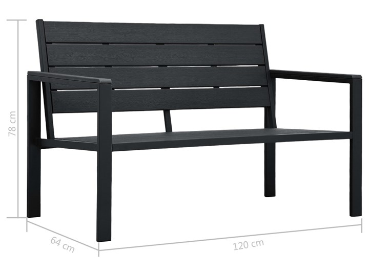 vidaXL Ławka ogrodowa, 120 cm, czarna, HDPE o wyglądzie drewna Drewno Stal Kolor Czarny