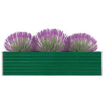 vidaXL Donica do podniesionej grządki, 320 x 40 x 77 cm, stal, zielona