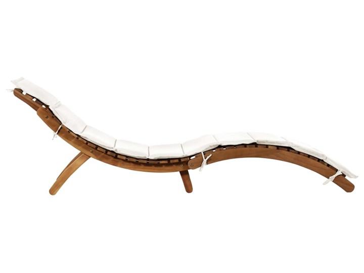 vidaXL Leżak z poduszką, lite drewno akacjowe, kremowy Kolor Brązowy Styl Rustykalny
