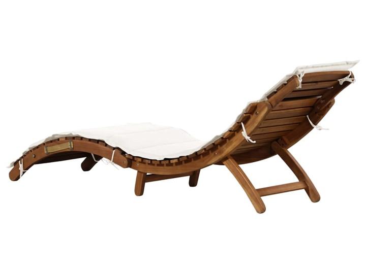 vidaXL Leżak z poduszką, lite drewno akacjowe, kremowy Kolor Brązowy