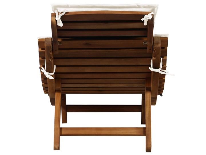 vidaXL Leżak z poduszką, lite drewno akacjowe, kremowy Kategoria Leżaki ogrodowe Kolor Brązowy
