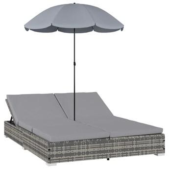 vidaXL Leżak ogrodowy z parasolem, polirattan, szary
